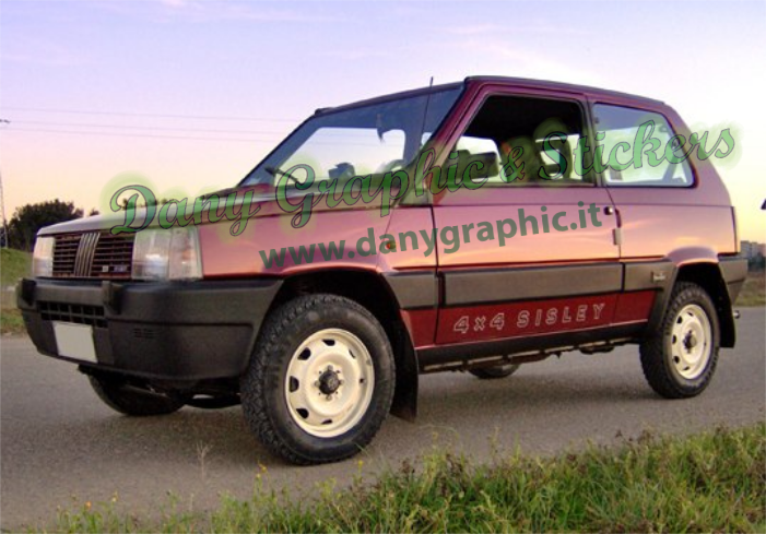 Coppia scritte adesive panda 4x4 sisley dany graphic for Panda 4x4 sisley off road